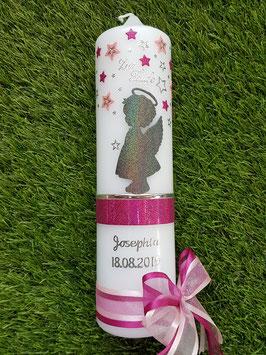 Taufkerze SK154 SCHUTZENGEL Anthrazit-Pink-Rosa Holoflitter / Balken Pink Holoflitter / Silberschrift