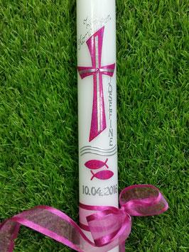 Kommunion - Konfirmationskerze KK609 Pink