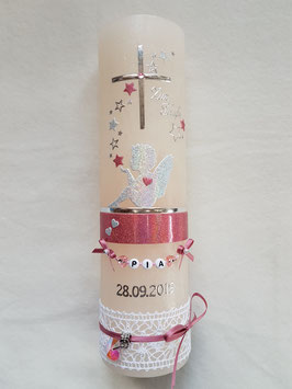 Vintage Taufkerze Silhouetten Schutzengel SK154-1-V mit Sterne / Kerze in Apricot / Silber-Altrosa Holoflitter