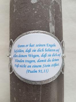 Spruch Ornament gedruckt nach Wahl / Silber-Türkis