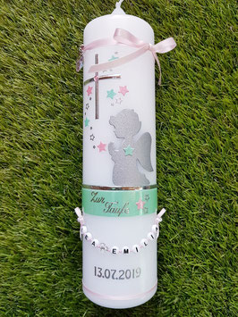 Taufkerze SK153-1 SCHUTZENGEL Pastellgrün-Rosa Holoflitter / Buchstabenkette / Band oben & unten