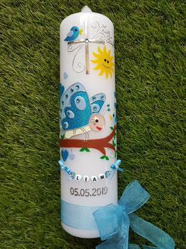 Taufkerze Schmetterling & Sonne TK183 in Türkis-Hellblau mit Buchstabenkette©