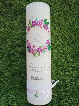 Vintage Rustic Taufkerze Blumenkranz TK471-V / Kerze Apricot / Silber-Altrosa-Rosa-Pink Holoflitter