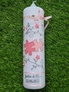 Hochzeitskerze HK204 Klassisch Puzzle in Rosa-Zartrosa Holoflitter