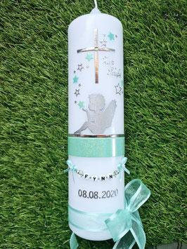 Taufkerze SK154-1 SCHUTZENGEL sitzend Zartmintgrün-Silber Holoflitter & Buchstabenkette