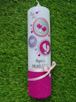 Taufkerze Symbole TK306-U in Fuchsia-Flieder-Pink-Silber Holoflitter/ Pink Flitteruntergrund