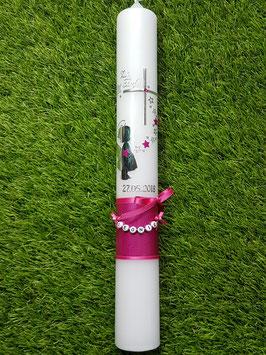 Taufkerze  Engel TK154-a-U Silber-Pink Holoflitter / Schleife Fuchsia