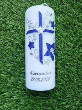 Patenkerze Kreuz TK102-2 Dunkelblau-Silber mit Sterne / Silberschrift