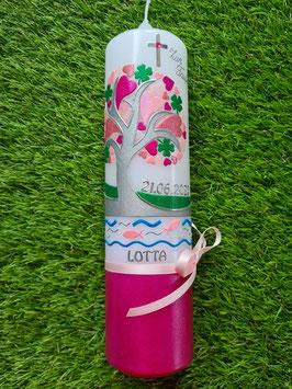Taufkerze TK401-U Lebensbaum mit Herzen, Kleeblatt, Fische, Wasser & Buchstabenkette / Pink-Rosatöne / Silberschrift