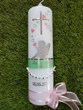 Taufkerze SK154-1 SCHUTZENGEL mit Herzen / Pastellgrün-Rosa Holoflitter / Buchstabenkette