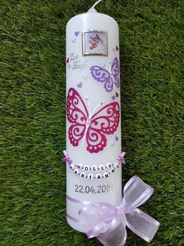 Taufkerze Schmetterling TK183-5 Zartflieder-Pink-Silber Holoflitter / Foto & Buchstabenkette