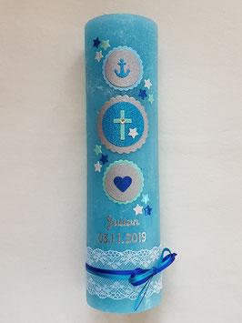 Taufkerze Symbole Rustik TK307-U in Türkis-Zartmint-Hellblau-Dunkelblau-Silber Holoflitter