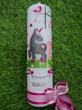 Taufkerze Einhorn TK265 Anthrazit-Rosa-Pink Holoflitter / Kreuz