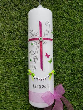 Taufkerze TK132 Schmetterlinge in Pink-Silber