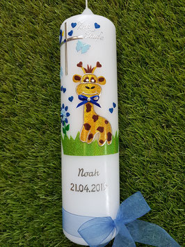 "Taufkerze TK278 ""Giraffe"" in Gelb-Braun-Dunkelblau-Hellblau Flitter/ Silberschrift"