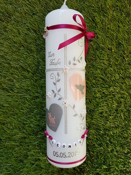 Taufkerze TK109 Klassisch Zartrosa Holoflitter / Bänder Pink & Buchstabenkette