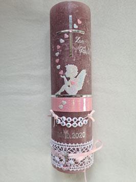 Vintage Taufkerze Silhouetten Schutzengel SK154-1-V mit Herzen / Kerze in Bordeaux / Silber-Altrosa Holoflitter