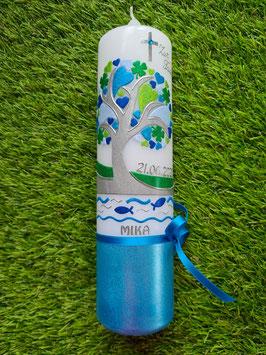 Taufkerze TK401-U Lebensbaum mit Herzen, Kleeblatt, Fische, Wasser & Buchstabenkette / Aquatöne / Silberschrift