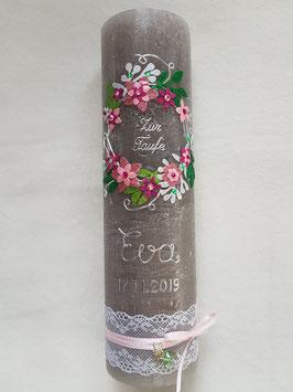 Vintage Rustic Taufkerze Blumenkranz TK471-V / Kerze Taupe / Silber-Altrosa-Rosa-Pink Holoflitter