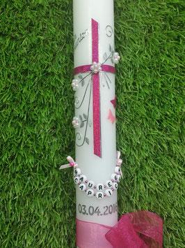 Kommunion & Konfirmationskerze KK132 Pink-Rosa Flitter