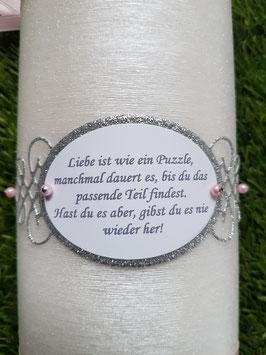 Spruch Ornament gedruckt nach Wahl / Silber-Hellgrau