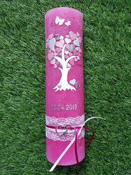 Vintage Rustic Hochzeitskerze Lebensbaum HK405-V / Kerze in Pink / Rosa-Zartrosa-Silber-Altrosa Holoflitter