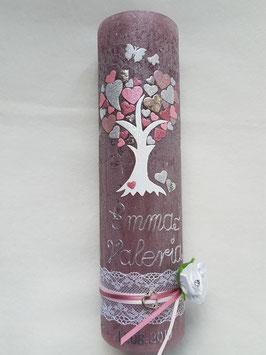 Vintage Rustic Taufkerze Lebensbaum TK405-V / Kerze in Bordeaux / Rosa-Zartrosa-Silber-Altrosa Holoflitter