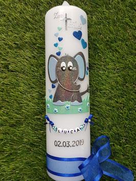 Taufkerze Elefant TK210-8 Anthrazit-Dunkelblau-Türkis-Zartmint-Hellblau Holoflitter / Schleife Dunkelblau