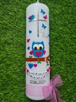 Taufkerze EULE das Original mit Kette TK181 in Türkis - Pink Holoflitter / Schleife Pink