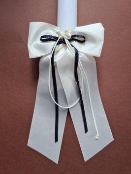 Kerzenschleife mit Blütenknospen & dunkelblauen Satinband KS113