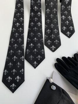 Krawatte schwarz französische Lilie Fleur de Lys, jedes Stück ein Unikat