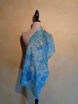 Foulard bleu soie