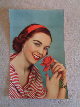 Carte postale Pin up rose 60's
