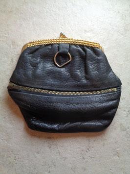 Porte monnaie cuir noir 60's