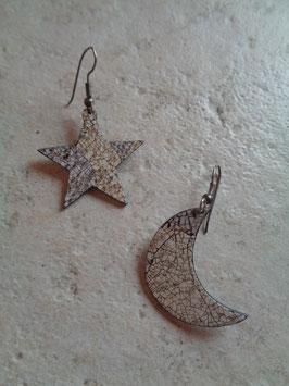 Boucles d'oreilles lune étoile
