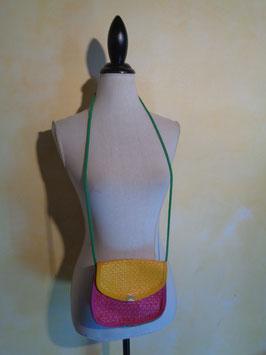 Pochette paille multicolore