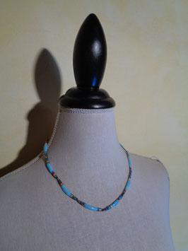 Collier émaillé turquoise