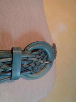 Ceinture cuir tressé bleue