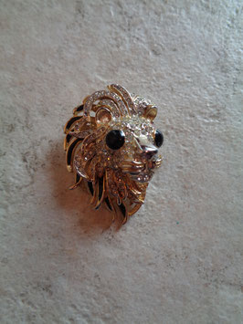 Broche lion à strass