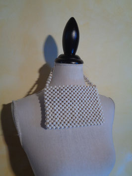 Pochette blanche perles 60's