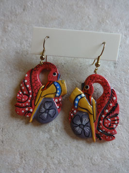 Boucles d'oreille flamand rose
