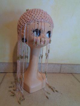 Bonnet à perles roses 70's