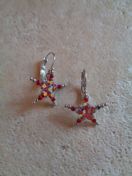 Boucles d'oreille étoiles strass rouges