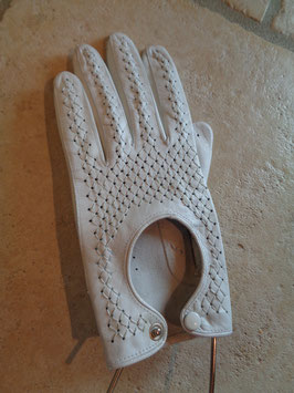 Gants d'automobiliste cuir blanc
