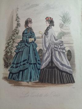 Gravure de mode hiver 19ème siècle