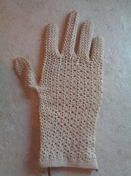 Gants crochet beiges