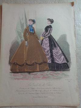 Gravure mode automne 19ème siècle