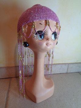 Bonnet rose perles 70's