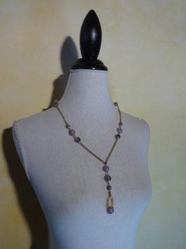Sautoir perles violettes