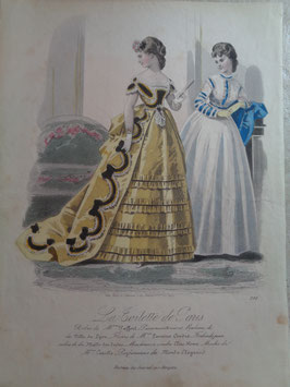 Gravure mode bal 19ème siècle